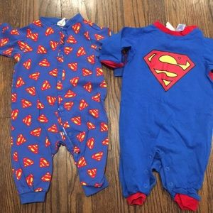 Lot of 2 baby boy super man rompers